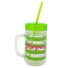 Green Preppy Stripe 22oz Double Wall Mason Jar with Straw #F125931