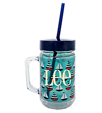 Sailboats 22oz Double Wall Mason Jar with Straw #F137189