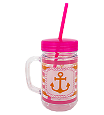 Anchor with Stripes 22oz Double Wall Mason Jar with Straw #F137194