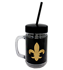 Fleur De Lis 22oz Double Wall Mason Jar with Straw #F137197