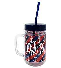 Stripes and Anchors 22oz Double Wall Mason Jar with Straw #F137187