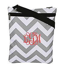 Gray and White Chevron iPad Messenger Bag #MB3-1325