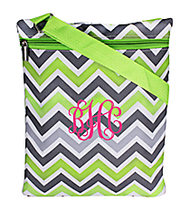 Green and Gray Chevron iPad Messenger Bag #MB3-1326