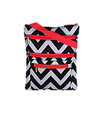 Black and Gray Chevron with Pink Trim iPad Messenger Bag #MB3-1324-P