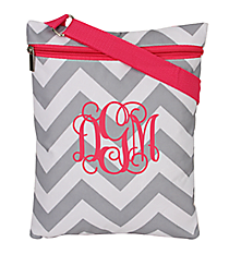 Gray and White Chevron with Pink Trim iPad Messenger Bag #MB3-1325-P