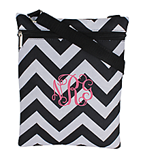Black and Gray Chevron iPad Messenger Bag #MB3-1324