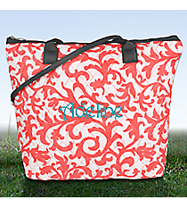 Coral Ivy Damask Quilted Shoulder Bag with Gray Trim #RMC1515-CORAL