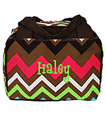 Multi Chevron Insulated Bowler Style Lunch Bag with Brown Trim #MGR255-BROWN