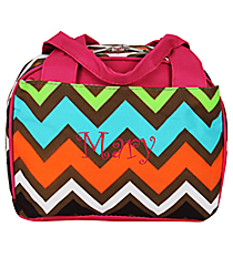 Multi Chevron Insulated Bowler Style Lunch Bag with Hot Pink Trim #MGR255-HPINK