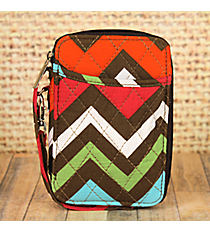 Multi-Chevron Quilted Wristlet #MGR495-BROWN