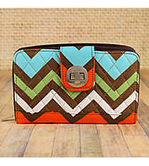 Multi-Chevron Quilted Organizer Clutch Wallet #MGR517-BROWN