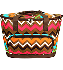 Multi Chevron Cooler Tote with Lid #MGR89-BROWN