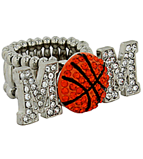 "Crystal Silvertone ""MOM"" Basketball Stretch Ring #R1233HY-S"
