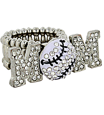 "Crystal Silvertone ""MOM"" Baseball Stretch Ring #R1233WH-S"