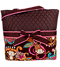 Quilted Monkey Island Diaper Bag with Brown Trim #MON2121-BROWN