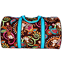 "21"" Quilted Monkey Island Duffle Bag with Turquoise Trim #MON2626-TURQ"