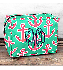 Mint and Pink Anchor Cosmetic Case #MPD613-NAVY
