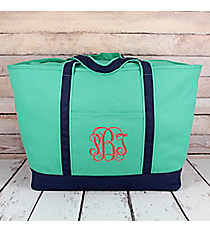 Mint Canvas Boat Tote with Navy Trim #MU831-MINT/NAVY