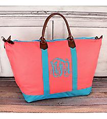 Pink and Aqua Weekender #MU838-CORAL/AQUA