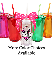 Bikini with Name 16 oz. Double Wall Tumbler with Straw #WA334004 *Choose Your Colors