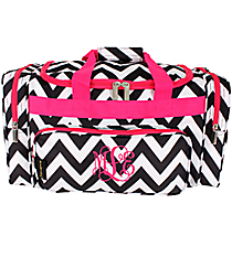 "Black Chevron with Hot Pink Trim 20"" Duffle Bag #NCH220K#BW/P"