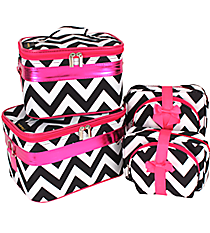 6 Piece Black Chevron Cosmetic Case Set #NCH31011/6#BW/P