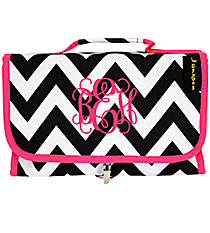 Black Chevron with Hot Pink Trim Roll Up Cosmetic Bag #NCH3424#BW/P