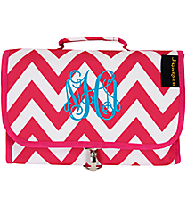 Hot Pink Chevron Roll Up Cosmetic Bag #NCH3424#FU