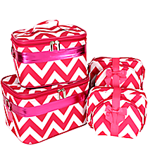 6 Piece Hot Pink Chevron Cosmetic Case Set #YZ-NCV31011/6#HP/W