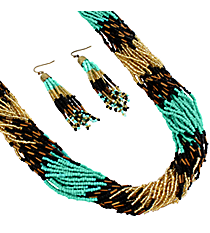 "25"" Turquoise and Jet Multi-Strand Seed Bead Necklace and Earring Set #AS4620-GTQJ"