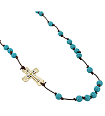Layered Cross Beaded Leather Necklace #8140N-TQ
