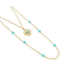 "18"" Goldtone and Aqua Linked Chain Cross Necklace #8412N-CROSS-AQ"