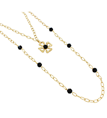 """18"""" Goldtone and Black Linked Chain Cross Necklace #8412N-CROSS-BK"""