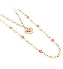 """18"""" Goldtone and Coral Linked Chain Cross Necklace #8412N-CROSS-CO"""
