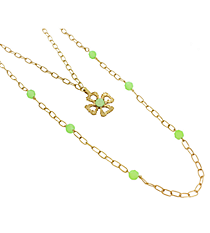 """18"""" Goldtone and Green Linked Chain Cross Necklace #8412N-CROSS-GR"""