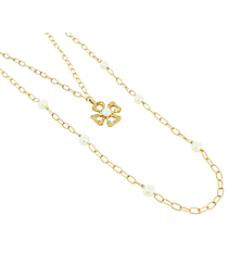 """18"""" Goldtone and Ivory Linked Chain Cross Necklace #8412N-CROSS-IV"""