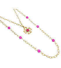 """18"""" Goldtone and Pink Linked Chain Cross Necklace #8412N-CROSS-PK"""
