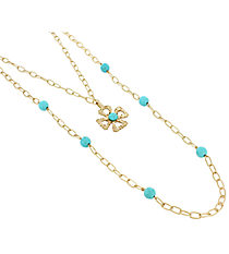 """18"""" Goldtone and Turquoise Linked Chain Cross Necklace #8412N-CROSS-TQ"""