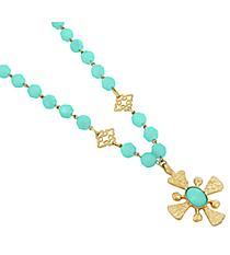 "18"" Aqua Bead and Goldtone Cross Necklace #8413N-CROSS-AQ"