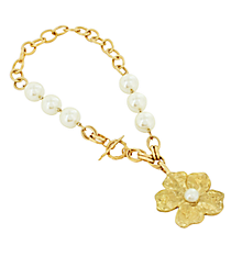 """16"""" Chunky Pearl and Goldtone Flower Pendant Necklace #8417N-FLOWER-IV"""