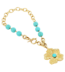 """16"""" Chunky Turquoise and Goldtone Flower Pendant Necklace #8417N-FLOWER-TQ"""