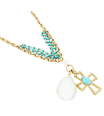 """17"""" Layered Goldtone and Turquoise Cross and Chandelier Pendant Necklace #8423N-CROSS-TQ"""