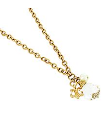 """18"""" Goldtone Fleur De Lis and Chandelier Charm Necklace #8487N-IV-FLEUR-GD"""