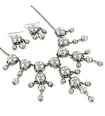 "17"" Silvertone Bubble Necklace and Earring Set #AS4704-RH"