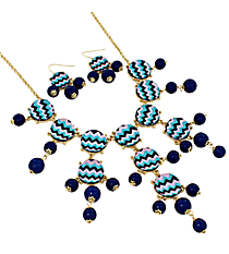 "26"" Multi Chevron Bubble Necklace and Earring Set #AS4770-GM"