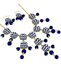 "26"" Blue and White Chevron Bubble Necklace and Earring Set #AS4770-GMW"