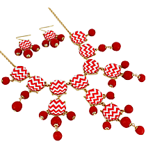 "26"" Red and White Chevron Bubble Necklace and Earring Set #AS4770-GRW"