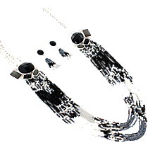 """30"""" Iridescent Jeweled Silvertone and Seed Bead Necklace and Earring Set #AS4953-SJ"""