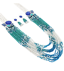 """30"""" Iridescent Jeweled Silvertone and Seed Bead Necklace and Earring Set #AS4953-SM"""