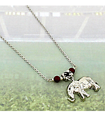 "18"" Hammered Silvertone Elephant Necklace #BN4108-RH"